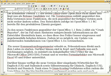 Writer - OpenOffice.org 1.1 RC