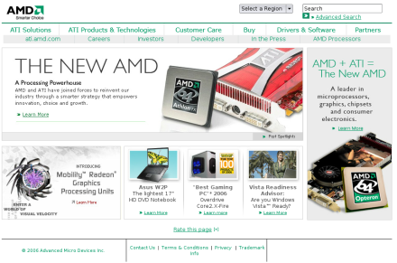 Screenshot von ati.amd.com