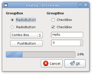 Qt-Dialog nutzt die Clearlooks-Theme-Engine