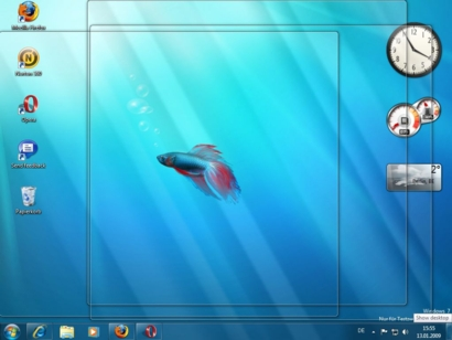 Windows 7 - Aero Peek zeigt alle Gadgets auf dem Desktop