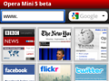 Opera Mini 5 bietet Tab-Browsing