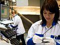 Arbeiterinnen bei Nokia