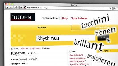 Homepage von Duden online