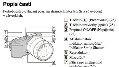 Sony NEX-C3 - Ausschnitt aus der tschechischen Bedienanleitung