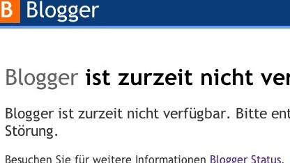 Google Blogger ist derzeit offline