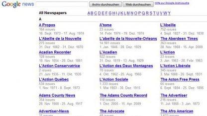 Googles Zeitungsarchiv News Archive