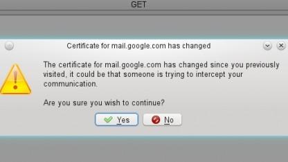 Möglicher Warnhinweis auf ein verändertes SSL-Zertifikat