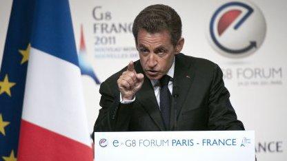Frankreichs Präsident Nicolas Sarkozy auf dem eG8-Forum in Paris