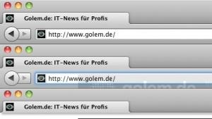 Firefox-Standas (oben) und mit LessChrome HD (mitte und unten)