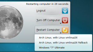 Der Abmeldedialog mit Grub2-Integration