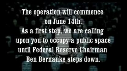 Anonymous fordert den Rücktritt von US-Zentralbankchef Ben Bernanke.