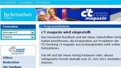 Aus Kostengründen: Computersendung c't magazin.tv wird eingestellt