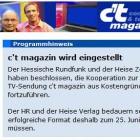 Letzte Sendung: c't magazin.tv wird eingestellt