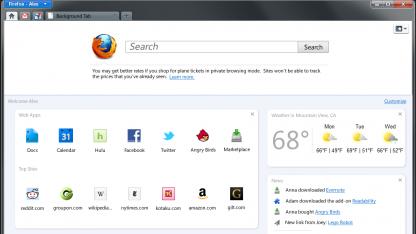 Hometab von Firefox soll zum Dashboard werden.