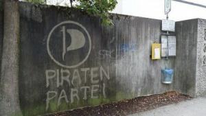 Reverse Graffiti der Piratenpartei