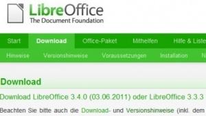 Downloadseite von Libreoffice 3.3.3