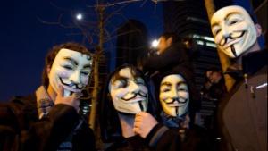 Anonymous-Aktivisten in Spanien