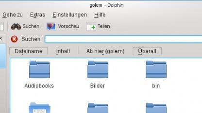 Die Suchoptionen des Dateimanagers Dolphin mit erweiterten Funktionen