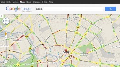 Google Maps mit eingeblendeten Verkehrsdaten
