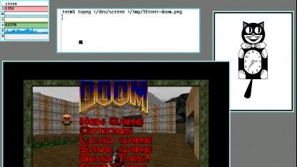 Screenshot von 9Front mit dem Spiel Doom