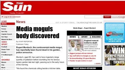 Lulzsecs gefälschte Murdoch-Todesnachricht auf The Sun