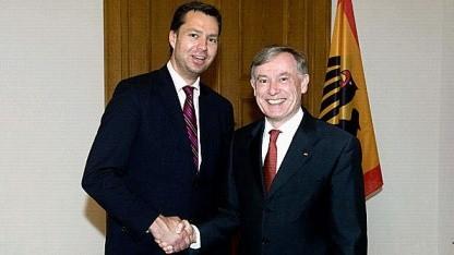 Stephan Mayer (CSU) im Jahr 2009 mit dem damaligen Bundespräsidenten Horst Köhler