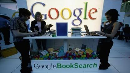 Komplexer Sachverhalt: Google wirbt 2006 auf der Buchmesse für seine Büchersuche.