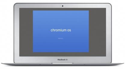 Macbook Air mit Chromium OS Bootscreen (Montage)