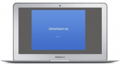 Macbook Air mit Chromium OS Bootscreen (Montage)