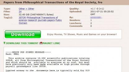 Dokumente der Royal Society bei Pirate Bay: freier Zugang zu Wissen