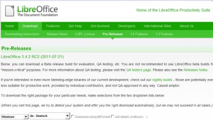 Libreoffice 3.4.2 als Release Candidate 2 erschienen