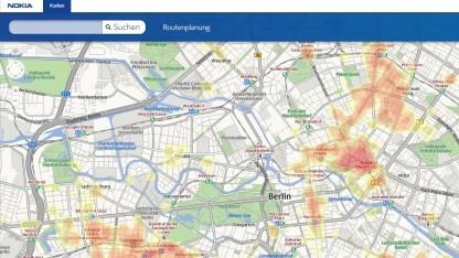 Nokia Karten mit eingeblendeten Heat Maps
