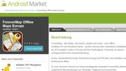 Skobblers Forevermap 2.1 im Android Market