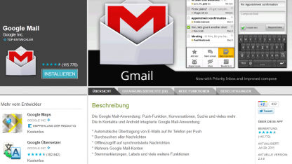 Google Mail 2.3.5 im Android Market der Webversion