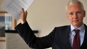 Julian Assange bei einer Pressekonferenz am 14. Juli 2011