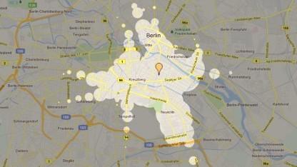 Wie weit kommt man in 15 Minuten vom Oranienplatz in Berlin.