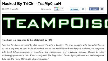 Teampoison hackte und entstellte das offizielle Blackberry-Blog.