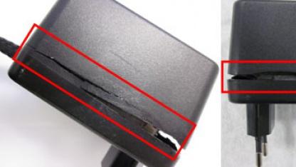 Stromschlag durch defekte Netzteilgehäuse möglich