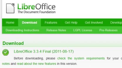 Libreoffice 3.3.4 ist da.