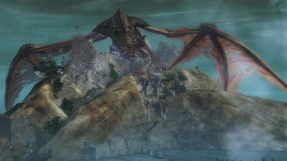 Ein riesiger, aber immer noch kleiner Drachengegner in Guild Wars 2
