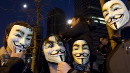 Erneut Anklage wegen DDoS: Anonymous-Mitglieder (in Madrid Ende 2010)