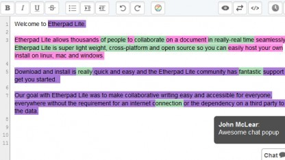 Etherpad Lite basiert auf Node.js.