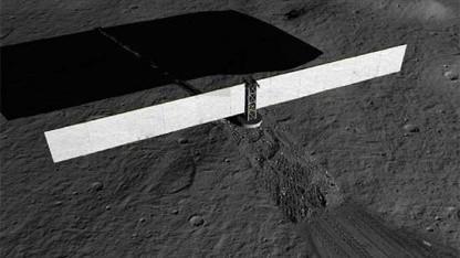 Strom für Mars und Mond: So könnte das lunare Kraftwerk aussehen.