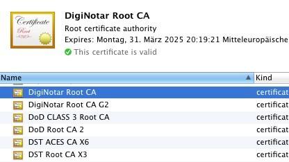 Diginotar-Zertifikat unter Mac OS X