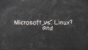 "Szene aus dem Video ""Happy Birthday Linux"" von Microsoft"