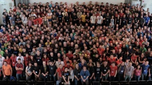 Gruppenfoto des Desktops Summit 2011 in Berlin