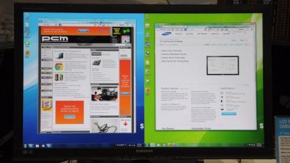 Zwei Rechner, zwei Bilder auf Samsungs PLS-Bildschirm