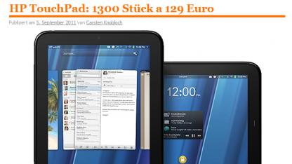 Die Touchpad-Verlosung war zunächst als Verkaufsaktion geplant.