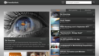 ZDF-Mediathek-App auf dem iPad