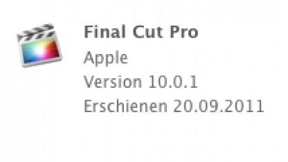 Final Cut Pro X wurde auf die Version 10.0.1 aktualisiert